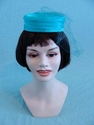 Teal Blue Vintage Pill Box Hat