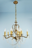 10-candle cast brass Spanish chandelier with Swarovski crystal drapes <NOBR>(ca. 1960s)</NOBR>