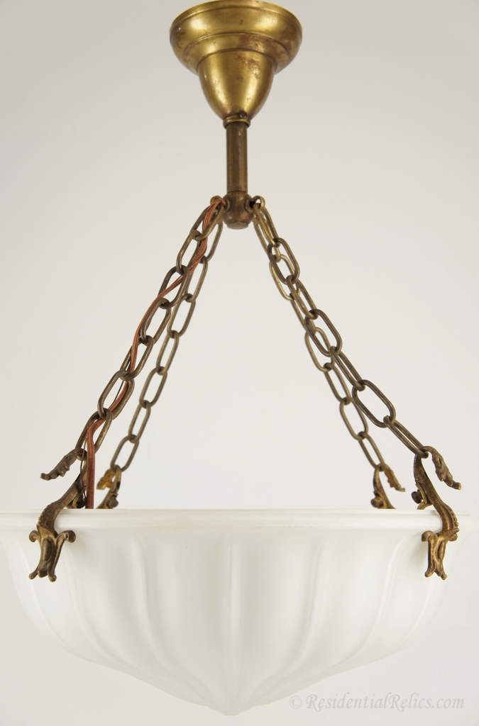 Cased Satin Gl Inverted Dome Chandelier Circa 1910s