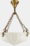 Cased satin glass inverted dome chandelier, circa 1910s
