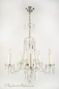 5-candle chrome and cut crystal chandelier, circa 1930s