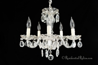 5-Light mid-century crystal chandelier, circa 1960s