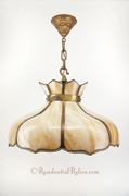Large slag glass petals chandelier, circa 1900s