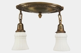 """<i><font color=""""#cc6600"""">Sold!</i></font color=""""#cc6600""""> Brass 2-light semi-flush mount ceiling fixture with white glass shades, circa 1910s"""