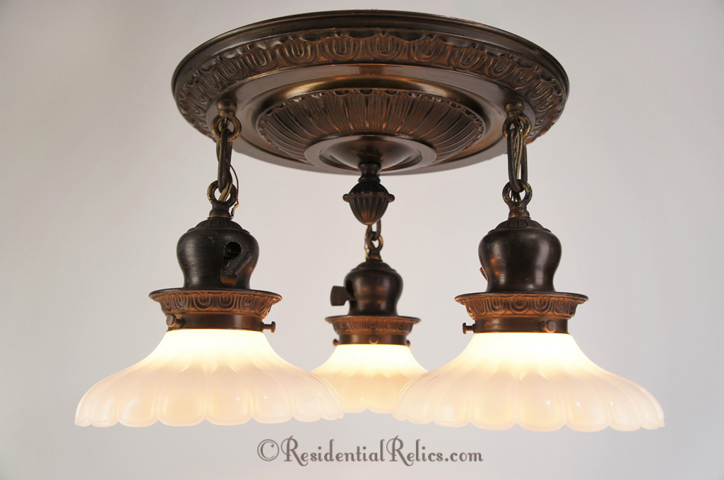 Antique 1910s embossed brass 3 light semi flush mount chandelier embossed brass 3 light semi flush mount chandelier with opalescent glass shades circa 1910s mozeypictures Images