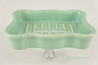 "Green ""Standard"" porcelain ceramic sink mount soap dish, circa 1910s"