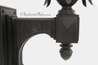 Large cast iron outdoor wall lantern with textured glass panels, circa 1910s