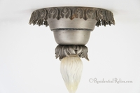 Pewter finish flush-mount ceiling fixture, circa 1910s
