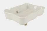 Judell Mfg. Co. porcelain ceramic sink-mount soap dish, circa 1910s