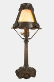 Cast iron Arts & Crafts table lamp with slag glass shade, circa 1920s