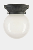 Cast iron porch ceiling fixture cover with frosted glass globe, circa 1920s (2 available)