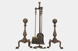 Fireplace tool set with cast iron andirons, circa 1920s