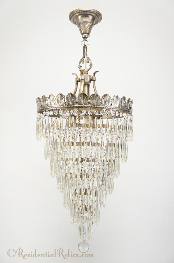 Antique 1920s Silver Plated Wedding Cake Crystal Chandelier