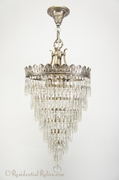 Silver-plated wedding cake crystal chandelier, circa 1920s