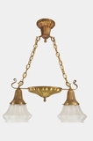 2-light brass Sheffield-style pendant light with Gillinder frosted shades, circa 1920s