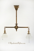 2-light Mission brass pendant with square glass shades, circa 1910s