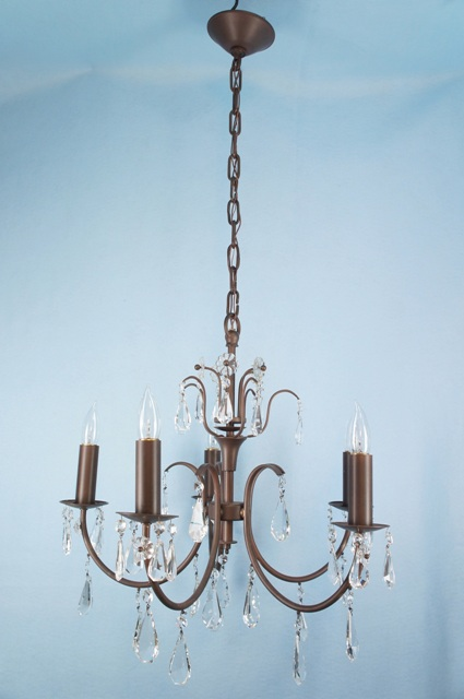 Antique bronze painted crystal chandelier 5 candle bronze painted crystal chandelier ca 1950s mozeypictures Choice Image