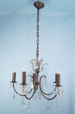 5-candle bronze painted crystal chandelier <NOBR>(ca. 1950s)</NOBR>