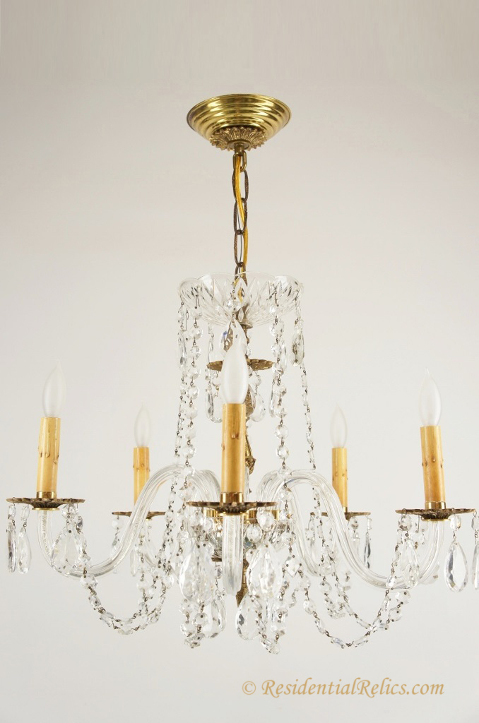 Vintage 5 candle crystal chandelier with glass arms circa 1940s 5 candle crystal chandelier with glass arms circa 1940s aloadofball Images