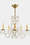 5-candle crystal chandelier with glass arms, circa 1940s