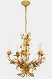 "<i><font color=""#cc6600"">Sold!</i></font color=""#cc6600""> 5-candle gilt Italian chandelier with porcelain roses, circa 1940s"