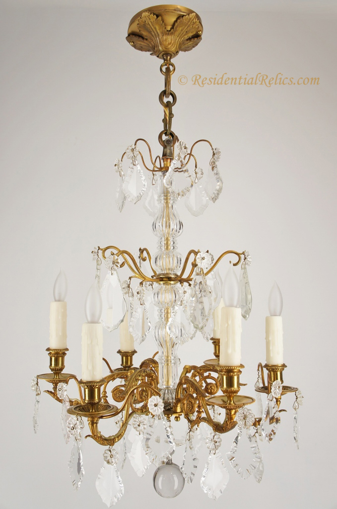 Antique french gilt bronze cut crystal chandelier circa 1890s 6 candle french gilt bronze crystal chandelier circa 1890s aloadofball Images