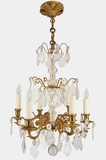 6-candle French gilt bronze crystal chandelier, circa 1890s