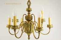 9-candle gilt bronze chandelier, circa 1900s