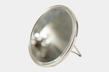 Acme nickel-plated beveled mirror with stand, circa 1910s