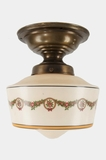 Brass ceiling fixture with stenciled glass globe, circa 1910s