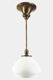 Brass pendant light with acid-cut shade, circa 1910s