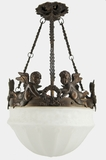 """<i><font color=""""#cc6600"""">On Hold!</i></font color=""""#cc6600""""> Cast brass cherub chandelier with inverted glass dome, circa 1920s"""