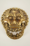 Cast brass Oriental lion door knocker, circa 1930s