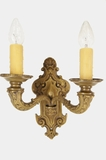 Cast bronze 2-candle wall sconce, circa 1910s