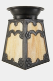 Cast iron ceiling fixture cover with slag glass shade, circa 1920s