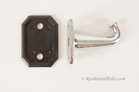 Chrome-plated brass hook with Bakelite back plate, circa 1920s