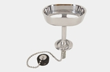 "Chrome plated brass ""Standard"" soap dish and drain plug, circa 1920s"