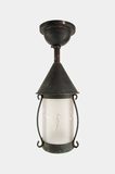 Copper ceiling lantern with engraved glass cylinder, circa 1920s