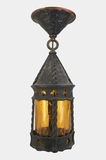 Copper exterior ceiling fixture with amber glass cylinder, circa 1920s