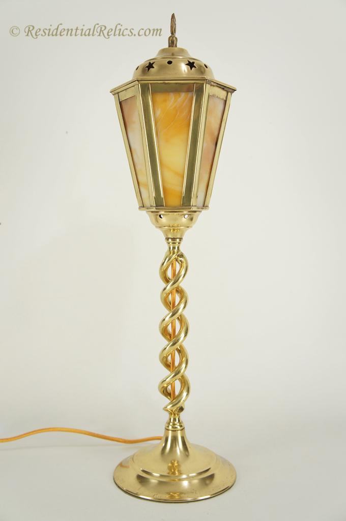 Antique English Brass Barley Twist Table Lamp With Slag Glass Shade