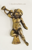 English cast brass cherub door knocker, circa 1920s