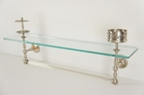 Glass bath shelf with nickel plated toothbrush holder, cup holder, and towel bar, circa 1900s