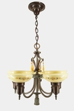 Moe Bridges 5-light chandelier with cased, stenciled shades, circa 1920s