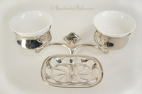 Nickel-plated soap dish and double cup holders, circa 1910s
