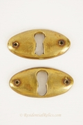 Oval cast brass keyhole cover, circa 1890s (1 available)