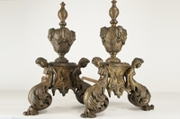 PAIR 19th century French gilt bronze andirons, circa mid-1800s