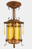 Pendant lantern with amber glass cylinder and cut crystals, circa 1920s