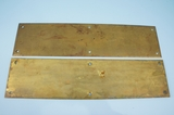 Pair brass door push plates <NOBR> (circa 1920s)<?NOBR>