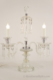 PAIR chrome and glass 2-candle table lamps with cut crystals, circa 1930s