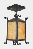 Porch ceiling pendant light with slag glass panels, circa 1920s